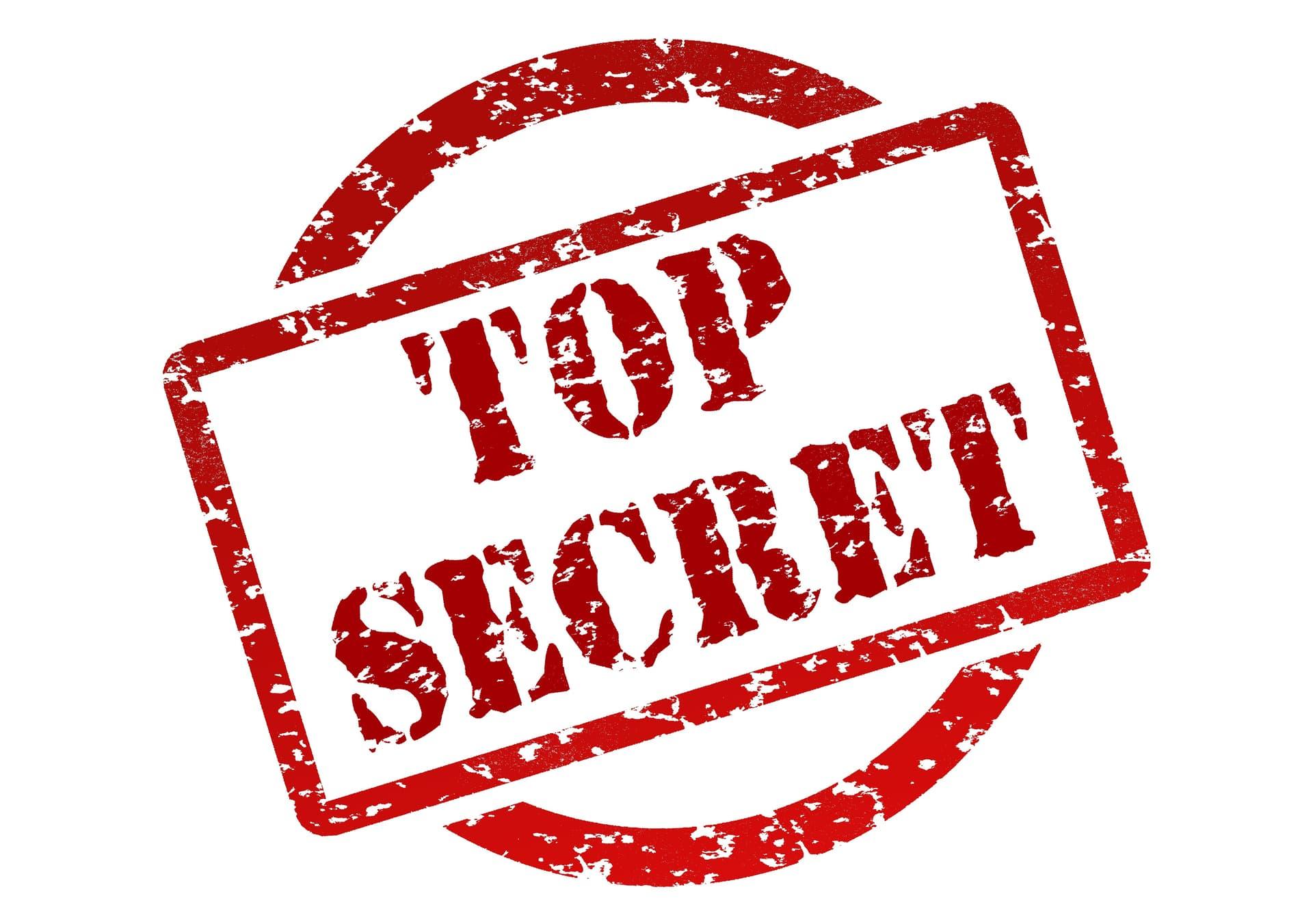 Red stamp saying top secret