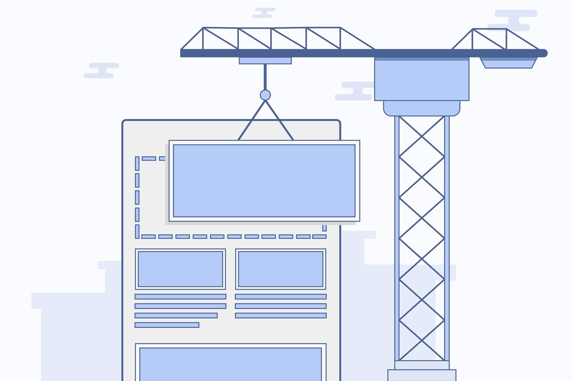 Cartoon crane illustrating building a website